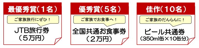 最優秀賞(1名)全国百貨店共通商品券 優秀賞(5名)全国百貨店共通商品券 佳作 クオカード